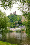 Castle ruin over bernkastel village and moselle river. Saarland germany Stock Photo