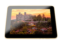 Castle ruin on Tablet display Stock Image