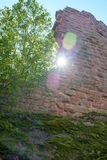 Castle Ruin Wall. Sun shining past wall fragment at the Madenburg castle ruin near Landau in der Pfalz, Germany Stock Photos