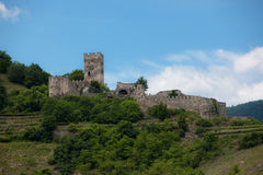 Castle Ruins. A photo of the ruins of a medieval castle seen along the Danube River in Germany Royalty Free Stock Image