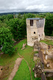 Castle ruins. In the forest stock photography