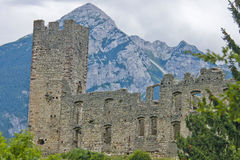 Castle Ruins. The ruins of an ancient castle in the mountains of northern Italy Royalty Free Stock Image