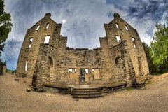 Castle Ruins. A fisheye High Dynamic Range photo of some Castle Ruins Royalty Free Stock Photo