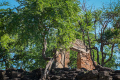 Castle ruins of ancient stone. In thailand Stock Photo