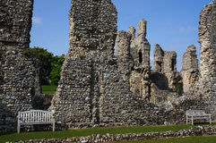 Castle Ruins. Benches inside the old castle ruins Royalty Free Stock Photography