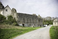 Castle ruins on british countryside,Anglesey,North Wales,Uk. Olad castle ruins on british countryside,Anglesey,North West Uk.Spring 2017.Landscape uk,North Wales Stock Photos