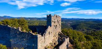 Castle in ruins. Aerial view, landscape royalty free stock photography