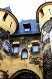 Castle ruins in Christmas Town Valkenburg, Netherlands Stock Photo