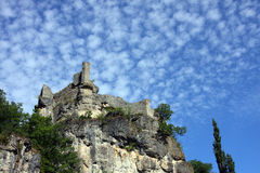 Castle ruins on cliff Stock Photo