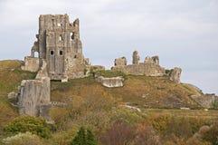 Castle Ruins at Corfe stock photo