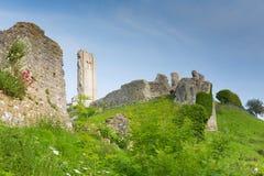 Castle ruins Corfe Dorset England Purbeck Hills Stock Image