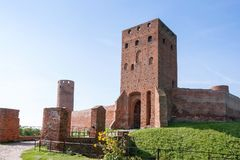 Castle ruins in Czersk. Front view of castle ruins in Czersk, Masovia region in Poland Royalty Free Stock Photos