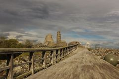 Castle. Ruins derelict bridge Wales Stock Image