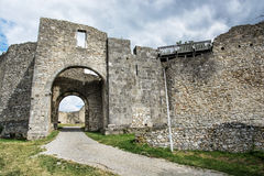Castle ruins of Hainburg an der Donau, Austria, ancient architec. Ruins of Hainburg an der Donau, Austria. Ancient architecture. Gateway to the castle. Travel Stock Photos