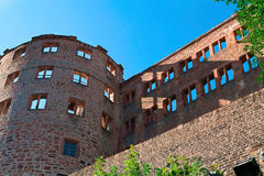 Castle ruins. In Heidelberg with blue sky royalty free stock photos