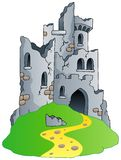 Castle ruins on hill. Vector illustration Royalty Free Stock Image