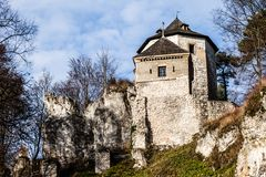 Castle ruins on a hill top in Ojcow, Poland Stock Photography