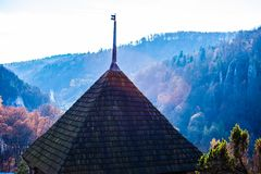 Castle ruins on a hill top in Ojcow, Poland Royalty Free Stock Images