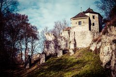 Castle ruins on a hill top in Ojcow, Poland stock images