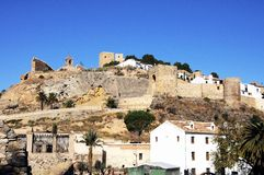Castle ruins on hilltop, Antequera, Spain. Royalty Free Stock Photo