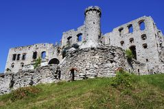 Castle ruins. I took photo in Ogrodzieniec , there are old castle ruins. Many people are arriving to visit this place in Poland stock photo