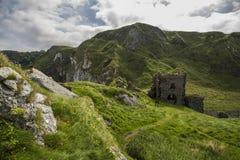 Castle ruins kinbane head. Old ruin of kinbane castle antrim coast north ireland Royalty Free Stock Photo
