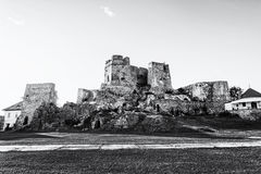Castle ruins in Levice city, Slovakia, black and white Stock Image