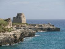 Castle ruins and lookout Tower in Roca. Castle ruins and lookout Tower overlooking the Adriatic sea in Roca in Salento. Roca is an important archaeological royalty free stock images
