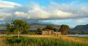 Castle ruins McCarthy Mor on Lake Lough Leane at Killarney on the Ring of Kerry in Ireland. IRE royalty free stock images