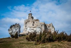Castle ruins. The ruins of a medieval castle stock photo