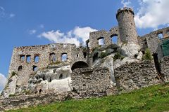 Castle- ruins of the medieval Ogrodzieniec Castle stock photo