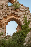Castle ruins. Overgrown with ivy stock image