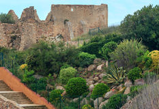 Castle ruins, Palamos, Spain. Stock Image