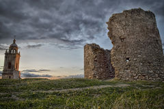 Castle Ruins. Remains of a watchtower in a beautiful sunset Royalty Free Stock Photography