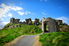 Castle ruins of the Rock of Dunamase in Ireland. Impressive castle ruins of the Rock of Dunamase in Laios County Ireland royalty free stock photography