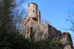 The castle ruins Schadeck, Germany. The castle ruins Schadeck, (the swallow's nest), is along The Castle Road in Baden-Württemberg, Germany Royalty Free Stock Images