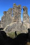 Castle Ruins with the shadow of a man Stock Photos