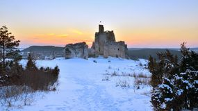 Castle Ruins at sunset, Poland royalty free stock image