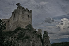 Castle. Ruins with trees high up in the clouds Royalty Free Stock Image