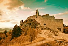 Castle ruins. Very old castle ruins. In the Czech Republic from the 18h century Stock Photography