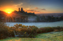 Castle ruins Winter sunrise. Stock Photo