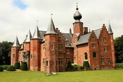 Red brick castle belgium royalty free stock photography