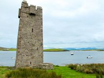 Kildavnet Castle, 15th-century Irish rectangular tower house. The castle is said to have been built by the O'Malley Clan in about 1429. However it is best royalty free stock photography
