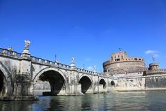 Castle Saint Angelo and old bridge, Rome Stock Photos