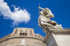 Castle Saint' Angelo statue in the foreground in Rome, Italy Royalty Free Stock Photo