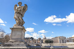 Castle Saint' Angelo statue in the foreground in Rome, Italy Stock Photography