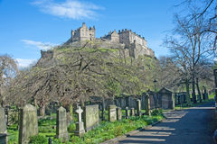Castle from Saint Cuthberts Church yard. View of Edinburgh Castle from the grave yard of Saint Cuthberts Church Royalty Free Stock Photography