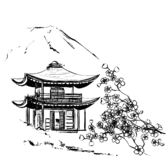 Castle. Sakura. Backround with building, mountains and flowers royalty free stock photos