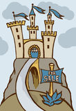 """Castle for sale. Fairytale Castle and signboard with announcement """"For Sale stock illustration"""