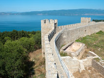 Castle Samuil And Lake Ohrid, Macedonia Royalty Free Stock Photos